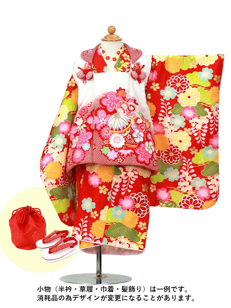 赤地に藤と菊、白の被布コートセット/七五三・三歳女の子
