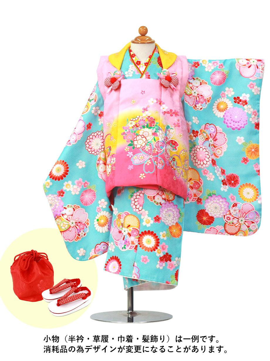 水色地に桜と梅、黄色とピンクの被布コート/七五三・三歳女の子