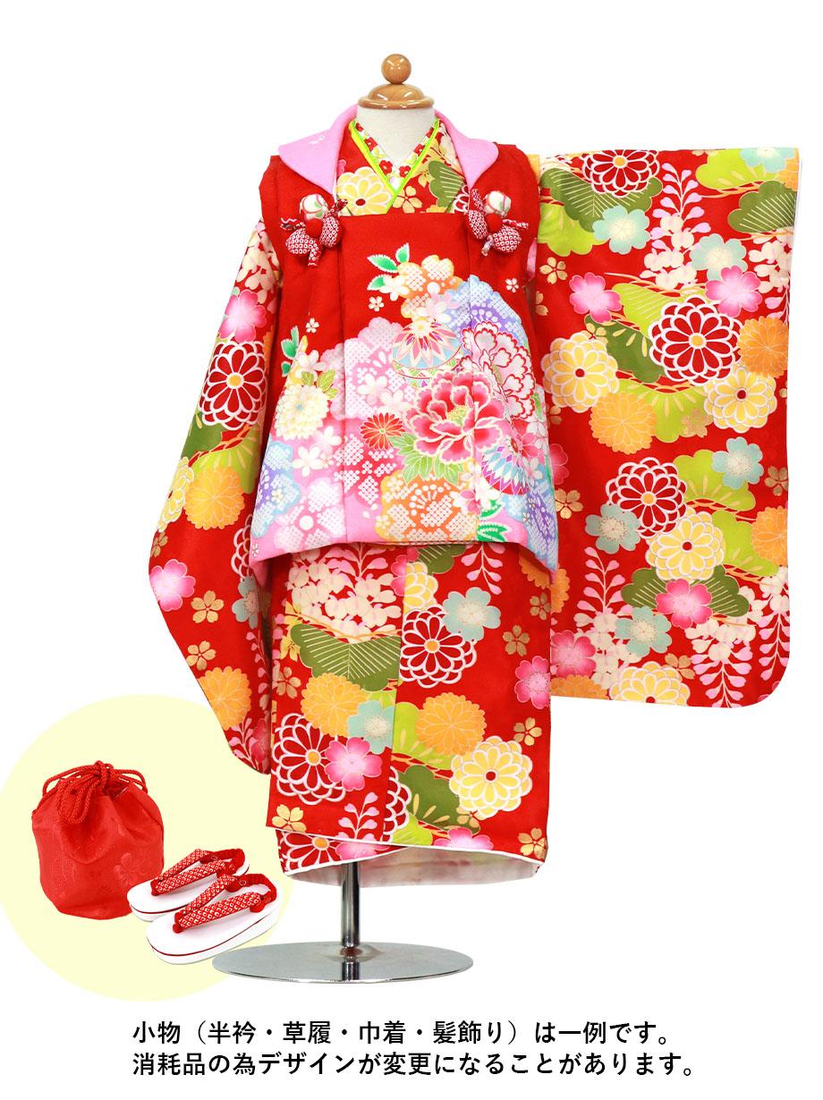赤地に藤と菊、赤の被布コートセット/七五三・三歳女の子