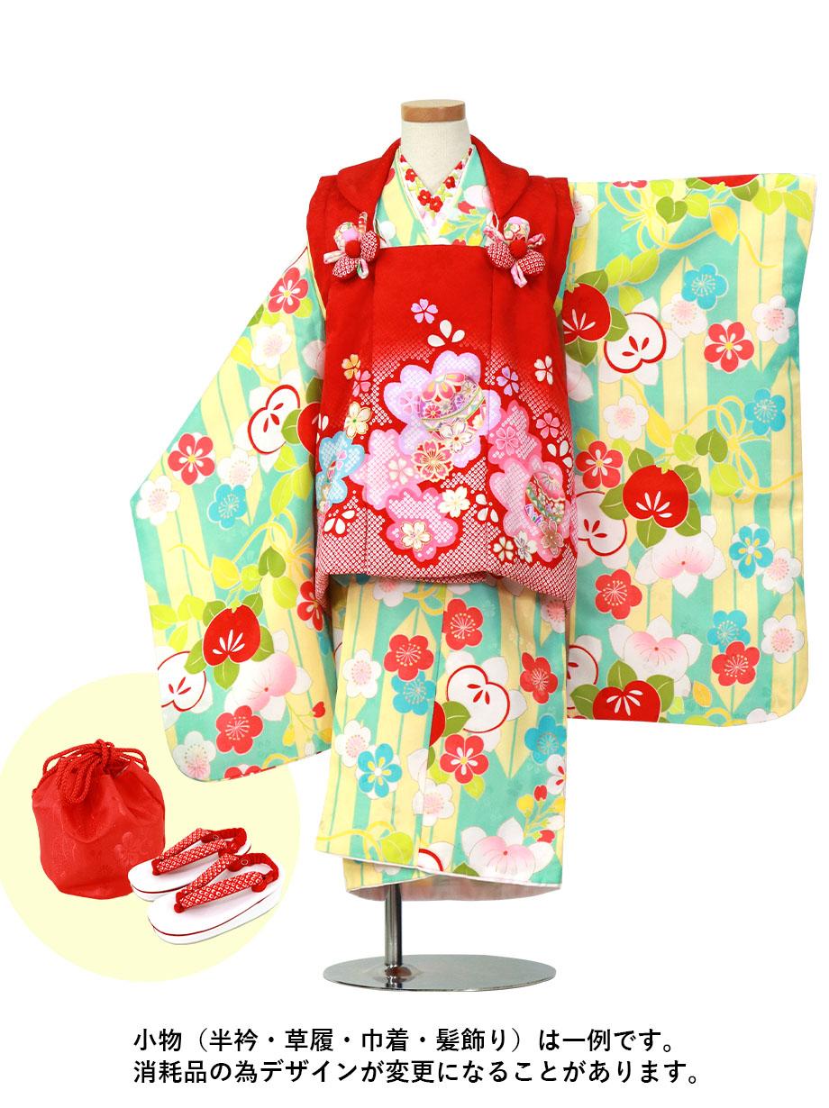 ベビーブルー地に矢絣の地に橘、赤の桜の被布コートセット/七五三・三歳女の子