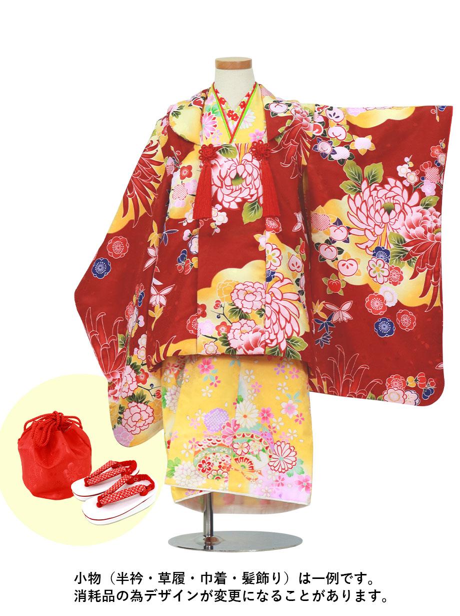 黄色地に鞠の着物と臙脂に菊の被布コートセット/七五三・三歳女の子