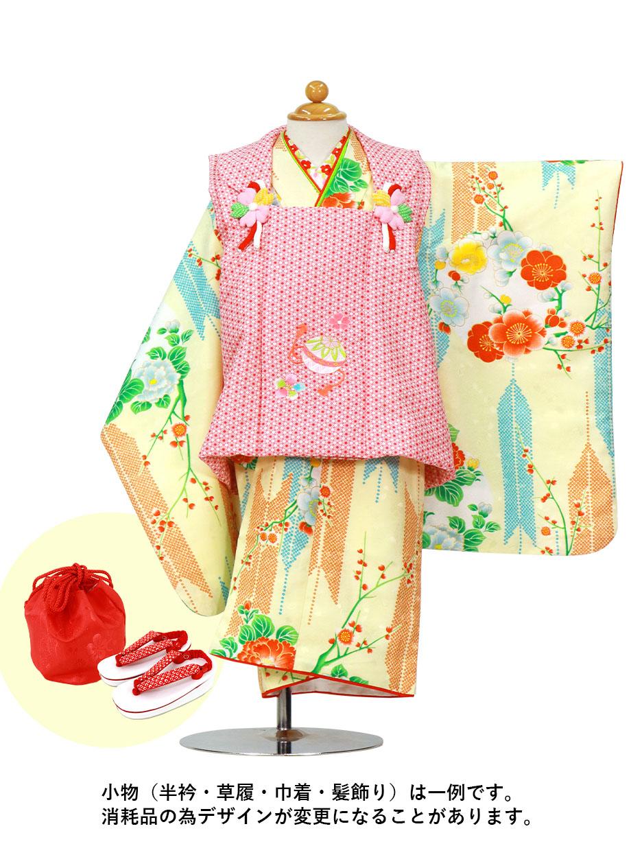 クリームに矢絣と牡丹の着物、赤の被布コートセット/七五三・三歳女の子