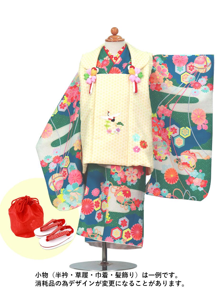 緑地に疋田のエ霞、黄色の被布コートセット/七五三・三歳女の子