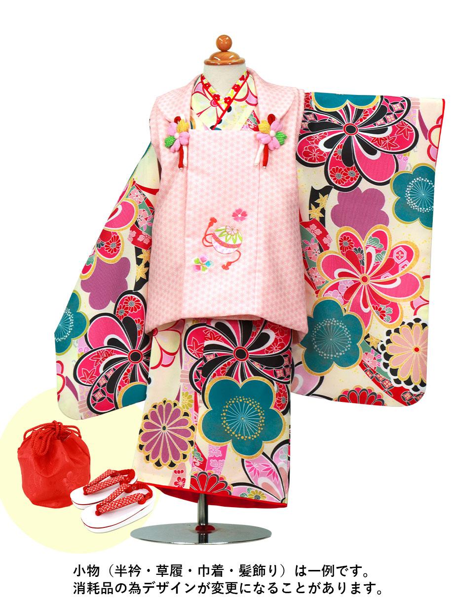 クリーム地にねじり菊と梅、ピンクの被布コートセット/七五三・三歳女の子