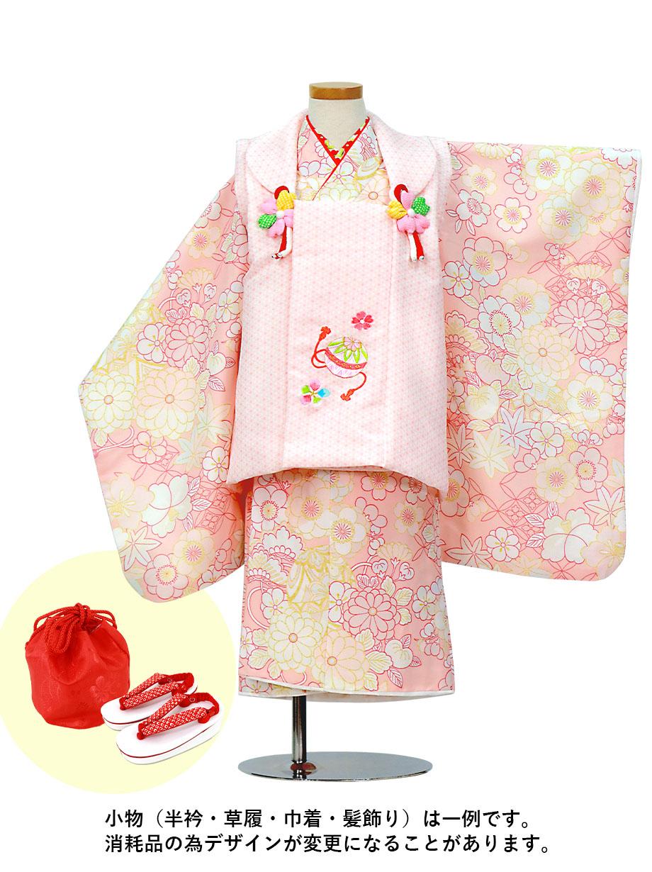 ベビーピンク地に七宝と四季花、ピンクの被布コートセット/七五三・三歳女の子