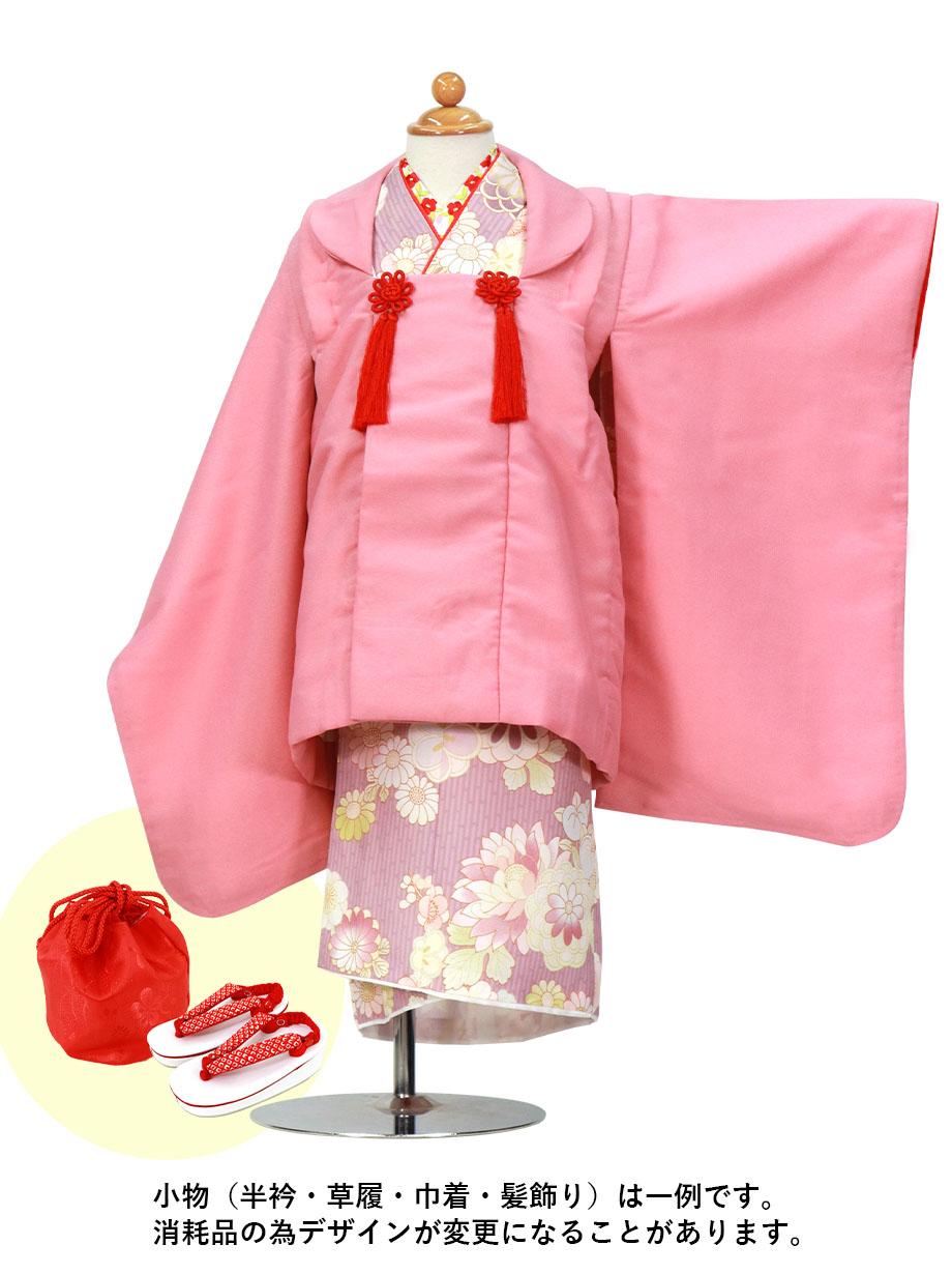 薄紅藤の縞模様に菊や梅の着物、ピンクの被布コートセット/七五三・三歳女の子
