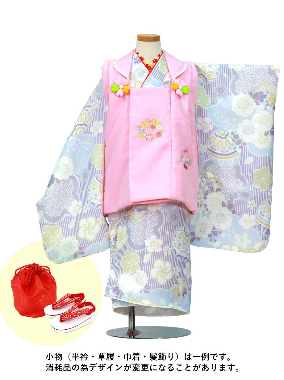 薄紫のストライプに鞠と桜、ピンクの被布コートセット/七五三・三歳女の子