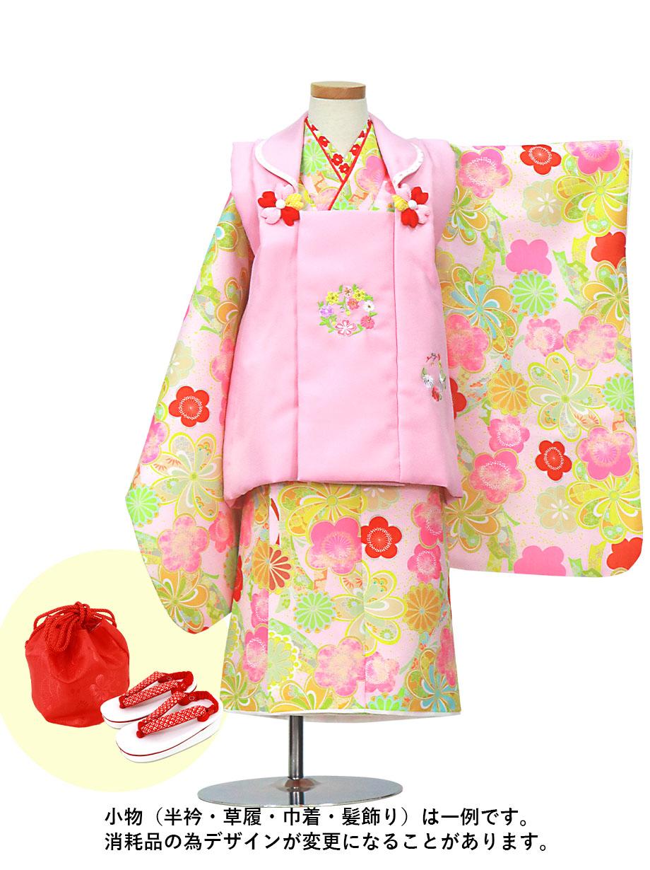 うすピンク地にねじり菊と梅、ピンクの被布コートセット/七五三・三歳女の子