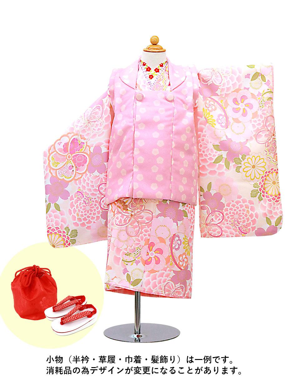 ピンク地に菊とまり、ピンクの被布コートセット/七五三・三歳女の子
