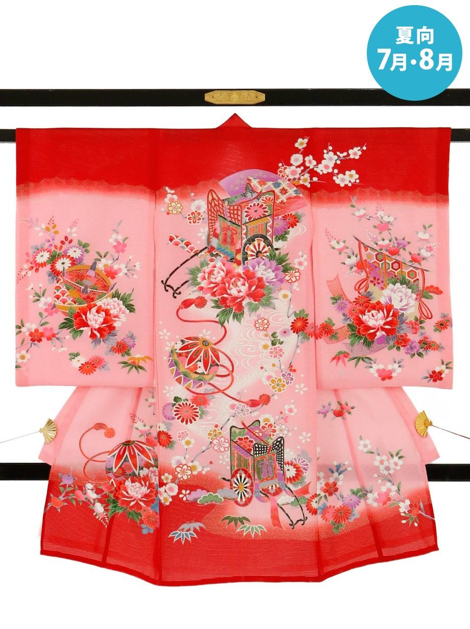 ピンクに御所車の絽の祝い着(産着)/女児
