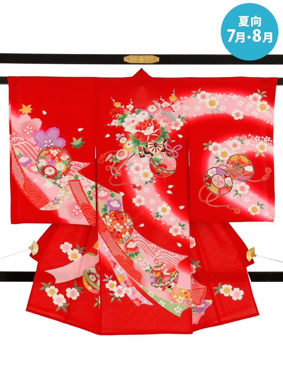 赤地に花車と熨斗の絽の祝い着(産着)/女児
