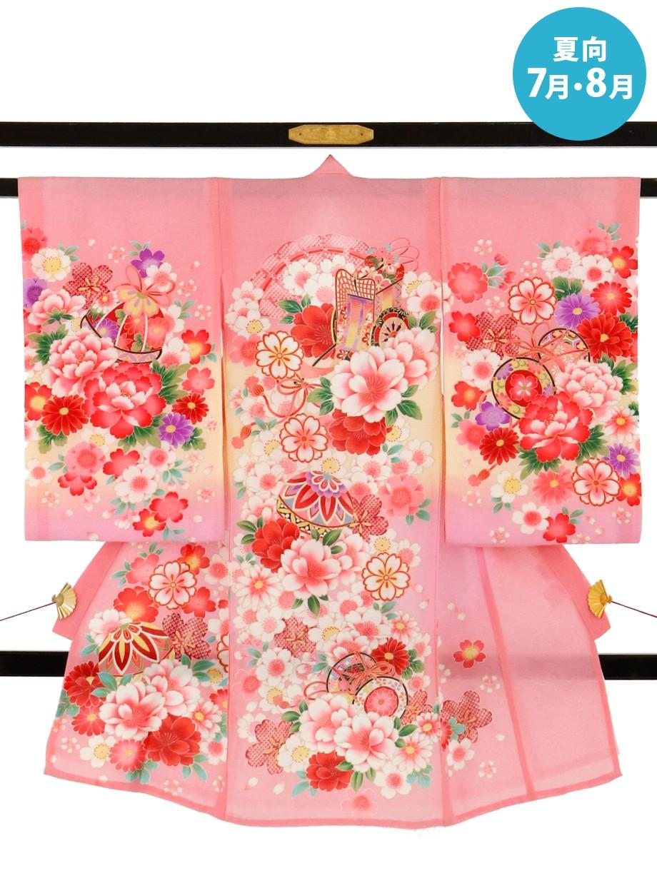 ピンク地に御所車と鞠と鼓・牡丹の絽の祝い着(産着)/女児