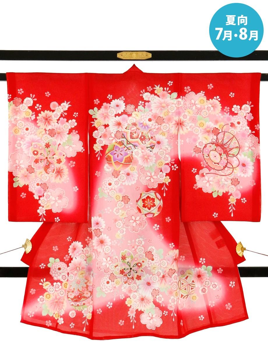 赤地に鞠・鼓と小花の絽の祝い着(産着)/女児