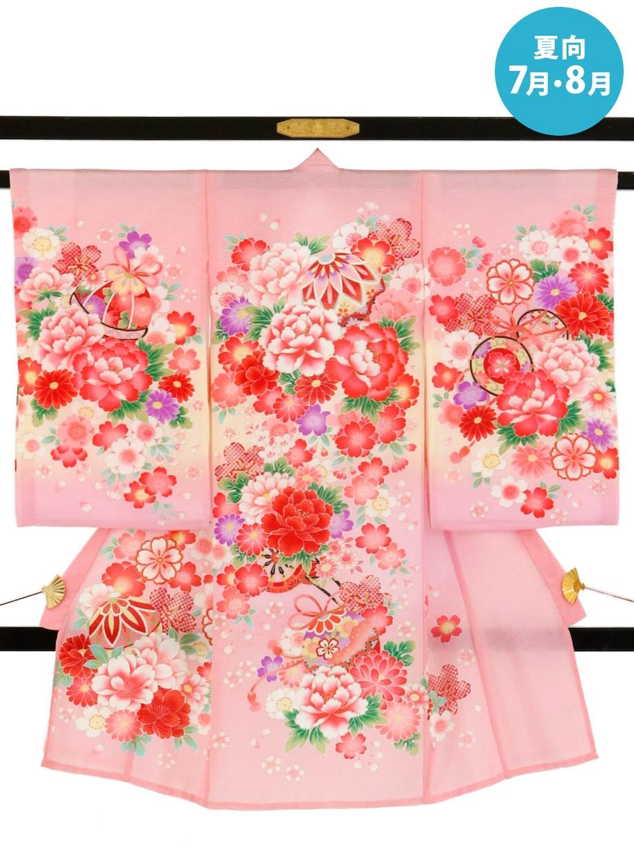 ピンク地に鞠と大輪の牡丹の絽の祝い着(産着)/女児