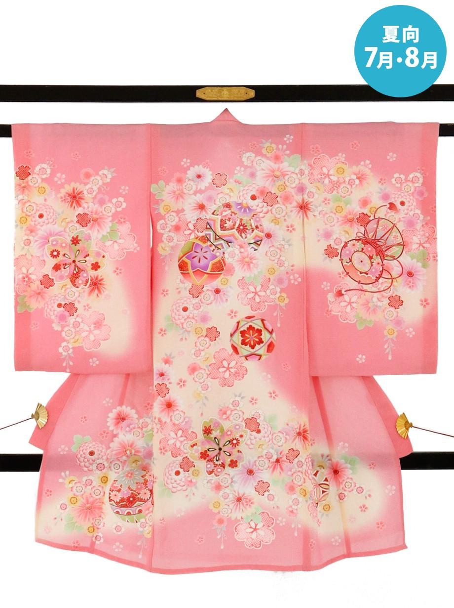 ピンク地に鞠と鼓と桜の絽の祝い着(産着)/女児*