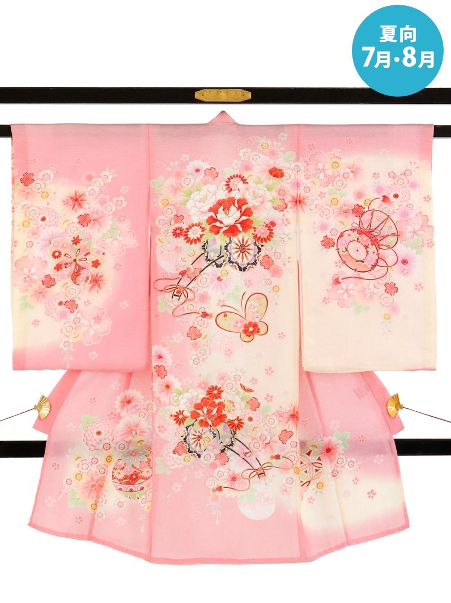 ピンク地に牡丹と花車と蝶の絽の祝い着(産着)/女児*