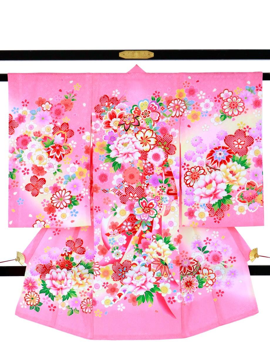 ピンク地に四季花と熨斗の祝い着(産着)/女児*