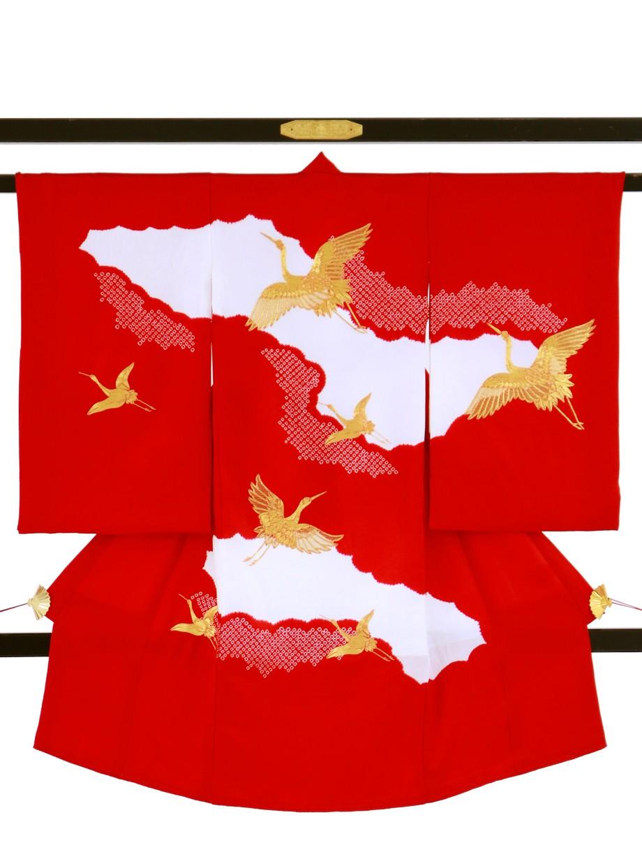 赤地に疋田、鶴の祝い着(産着)/女児