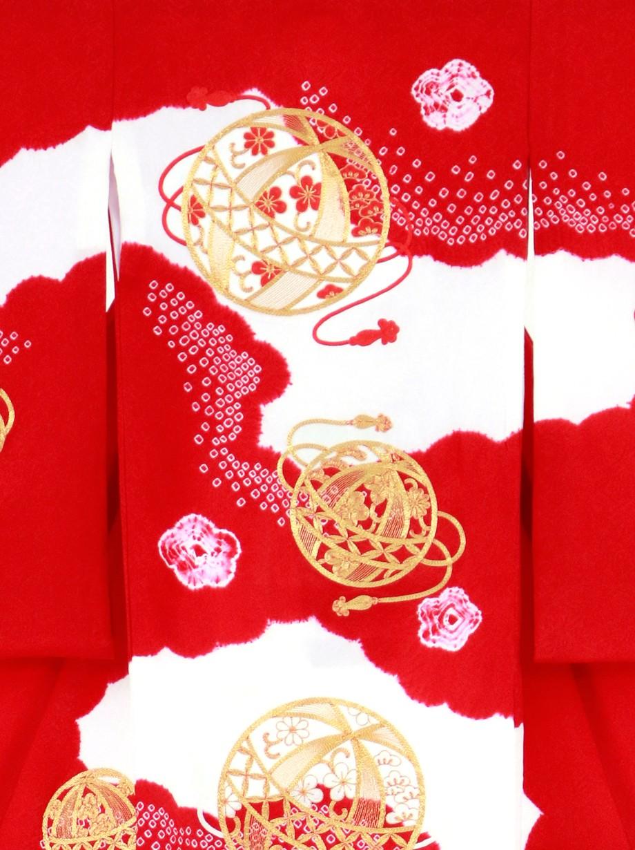 赤地に染疋田、金糸の鞠の祝い着(産着)/女児