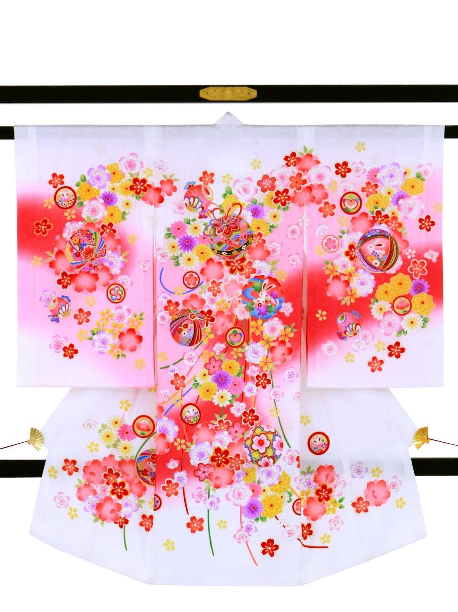 白地に鈴と花尽くしの祝い着(産着)/女児