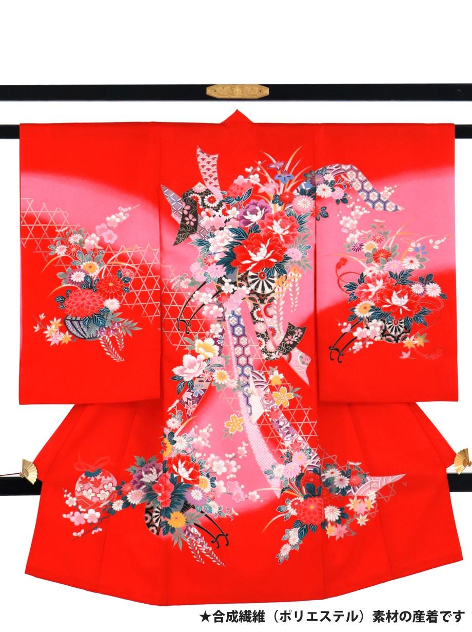 赤地に花車と束ね熨斗の祝い着(産着)/女児(ポリエステル)