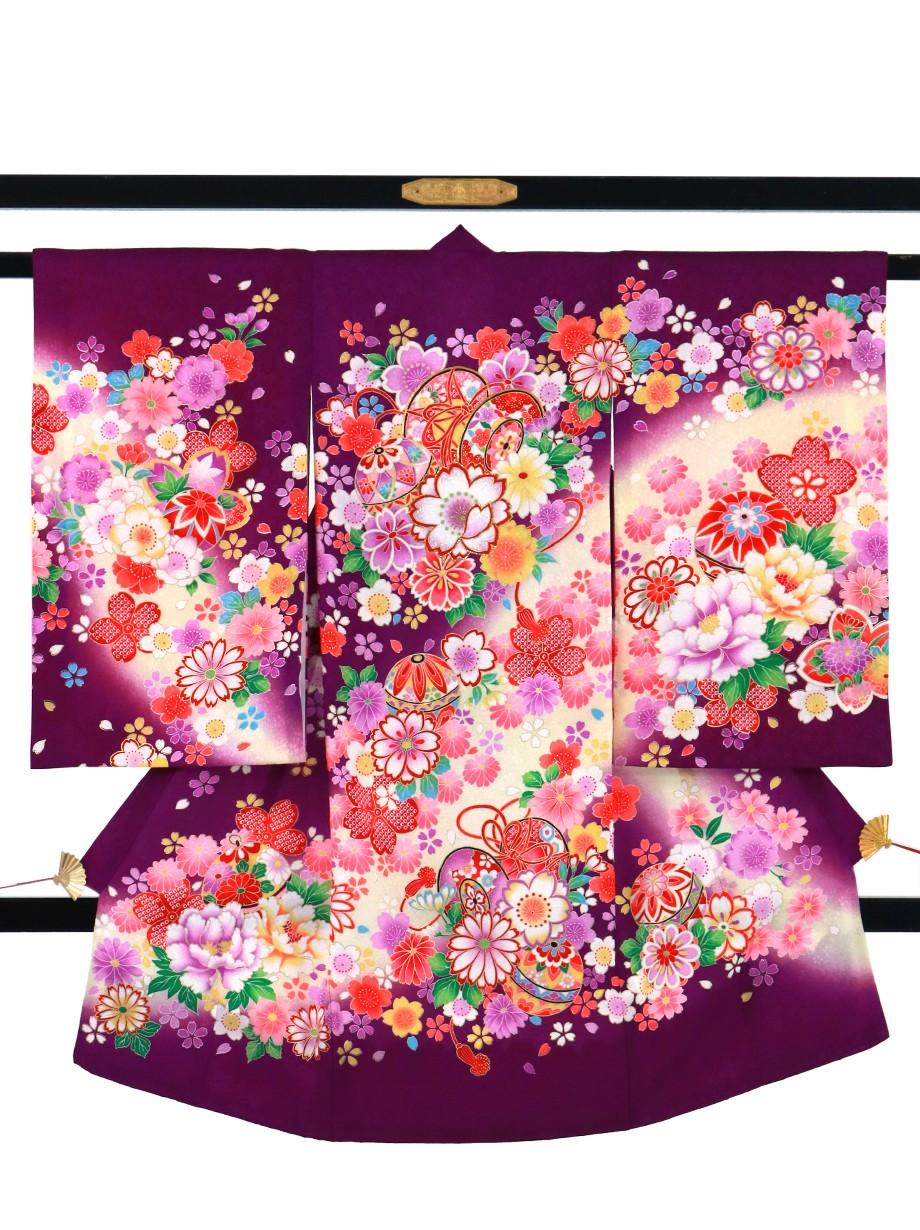 紫地に鞠と鼓の祝い着(産着)/女児