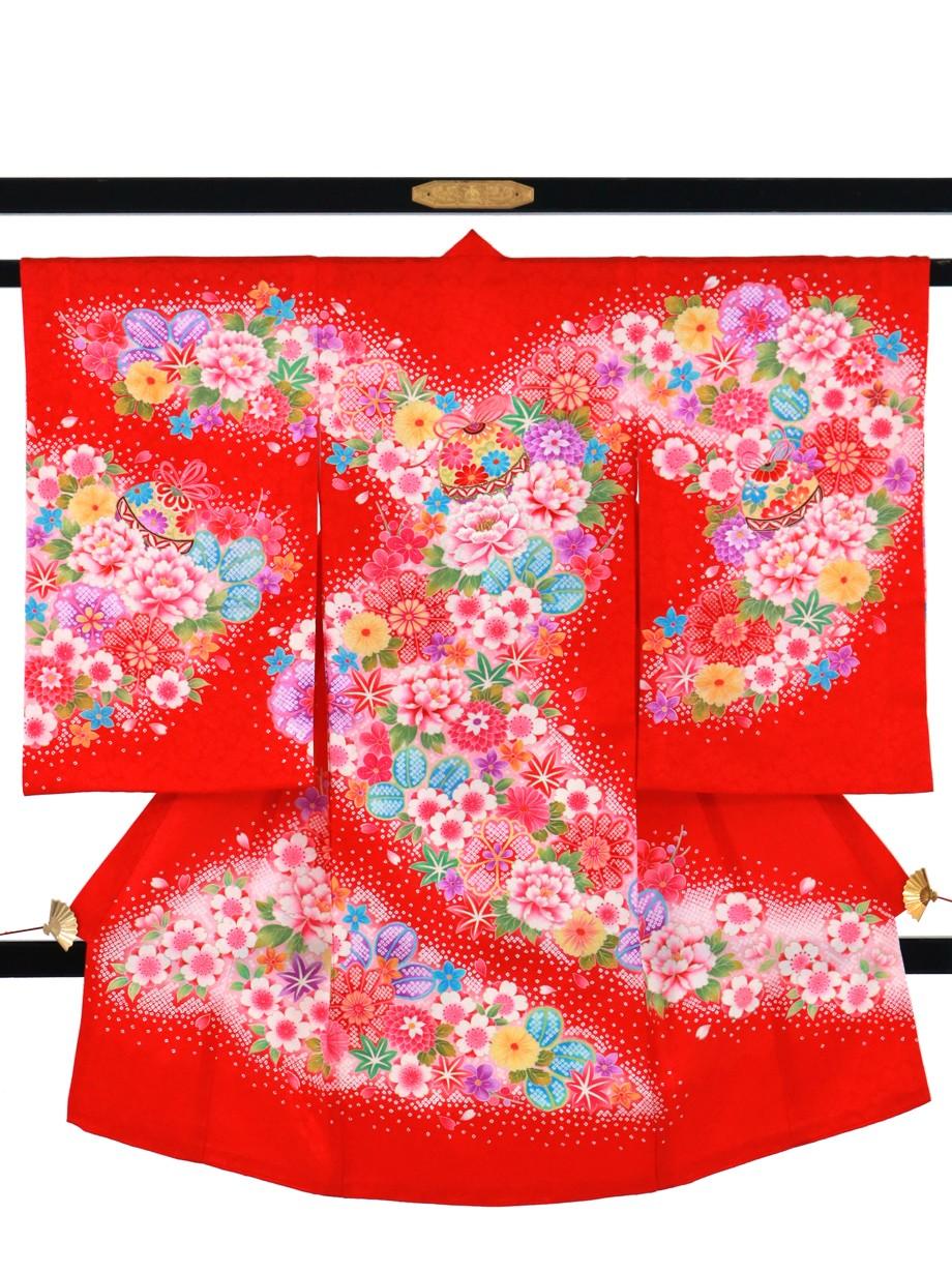 赤地に鹿の子風柄と鈴の祝い着(産着)/女児