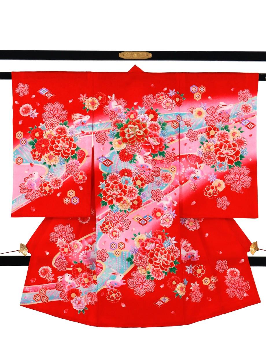 赤地にうさぎと牡丹の祝い着(産着)/女児