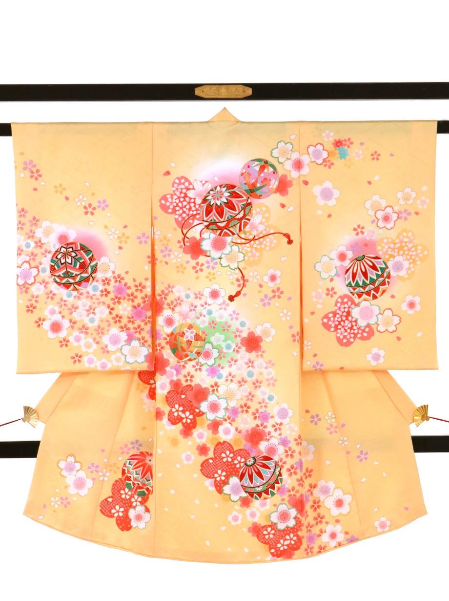 花葉(はなば)色に桜と鞠の祝い着(産着)/女児