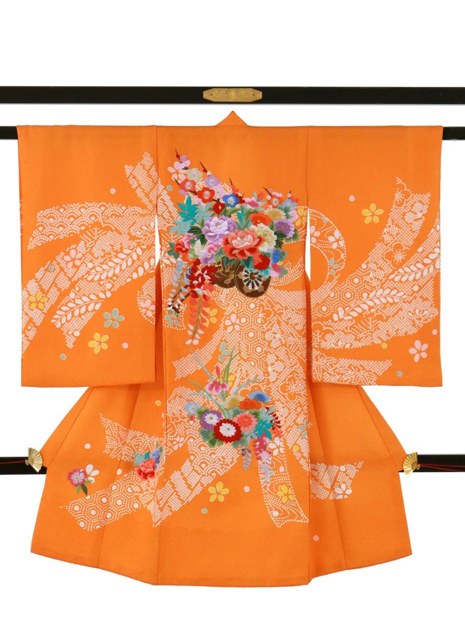 橙地に疋田の熨斗と花車の祝い着(産着)/女児