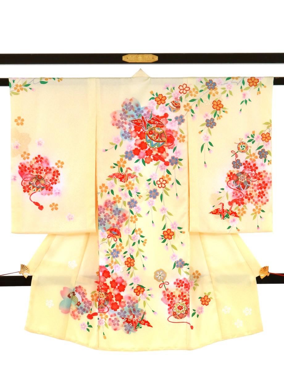 薄黄色地にしだれ桜と鞠、折り鶴の祝い着(産着)/女児
