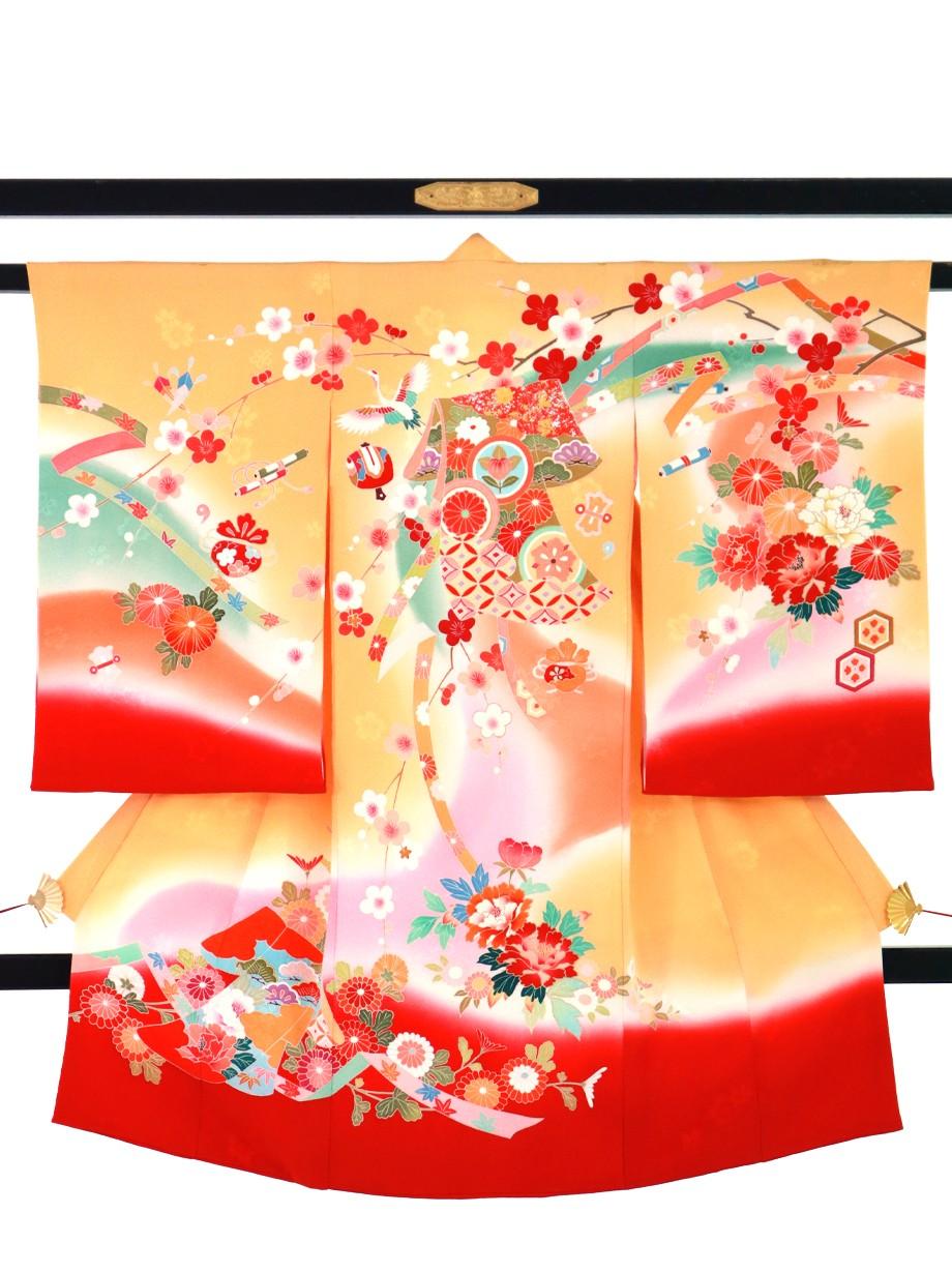 橙と赤の熨斗目に誰が袖文の祝い着(産着)/女児