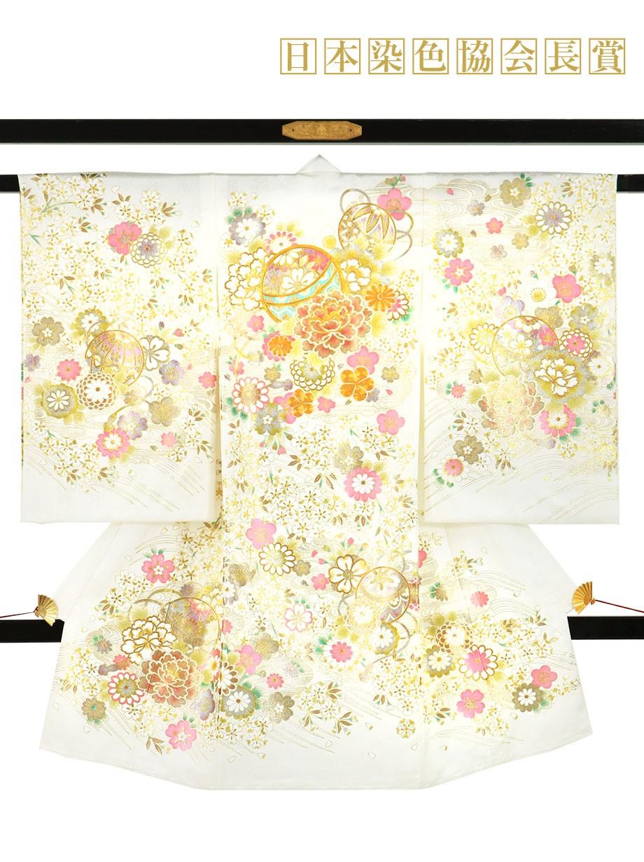 白地に鞠と牡丹、金の刺繍尽くしの祝い着(産着)/女児