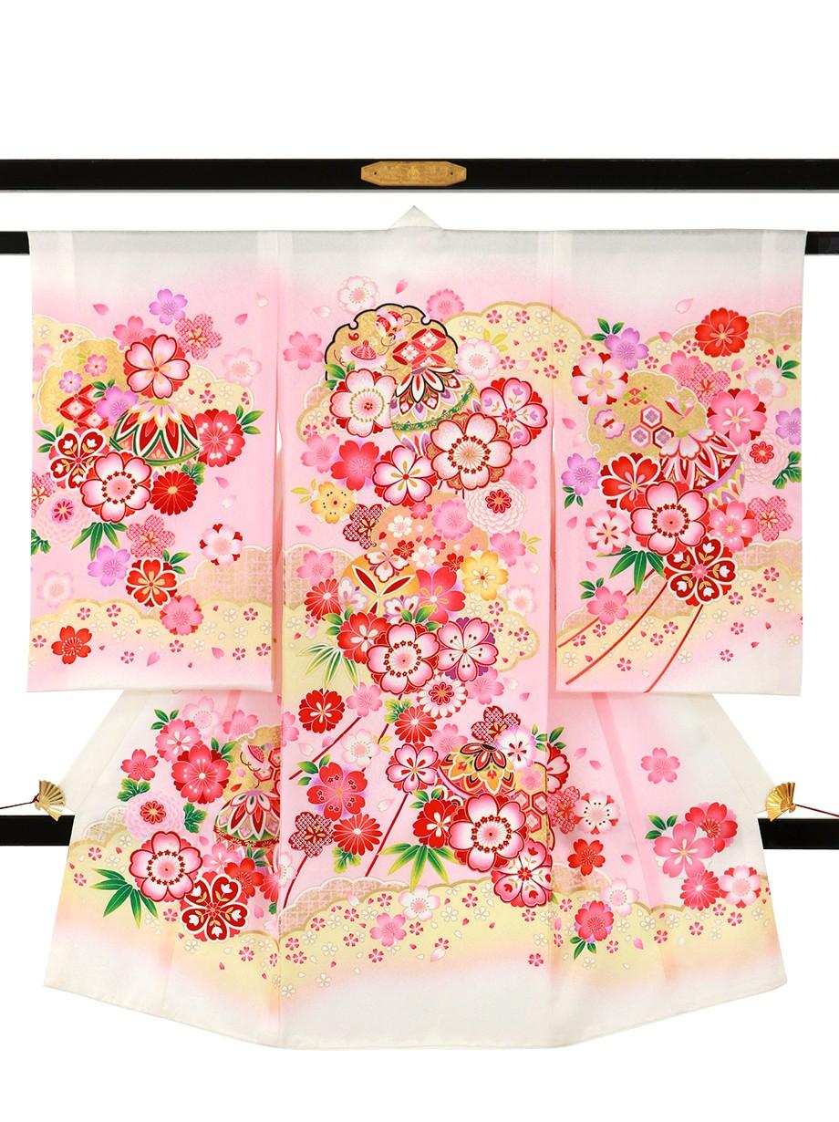 白地に鞠と桜、雲取り の祝い着(産着)/女児