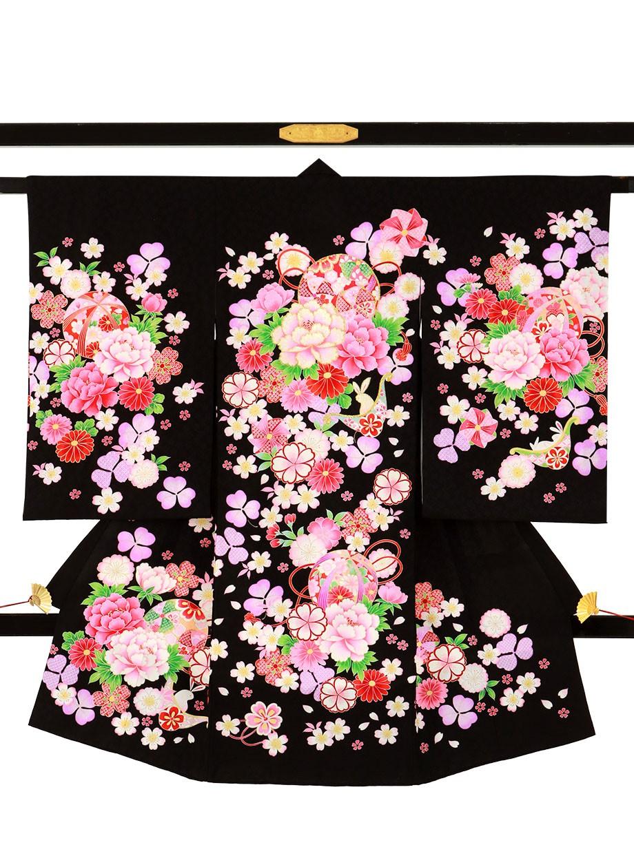 黒地に花柄、うさぎの祝い着(産着)/女児*