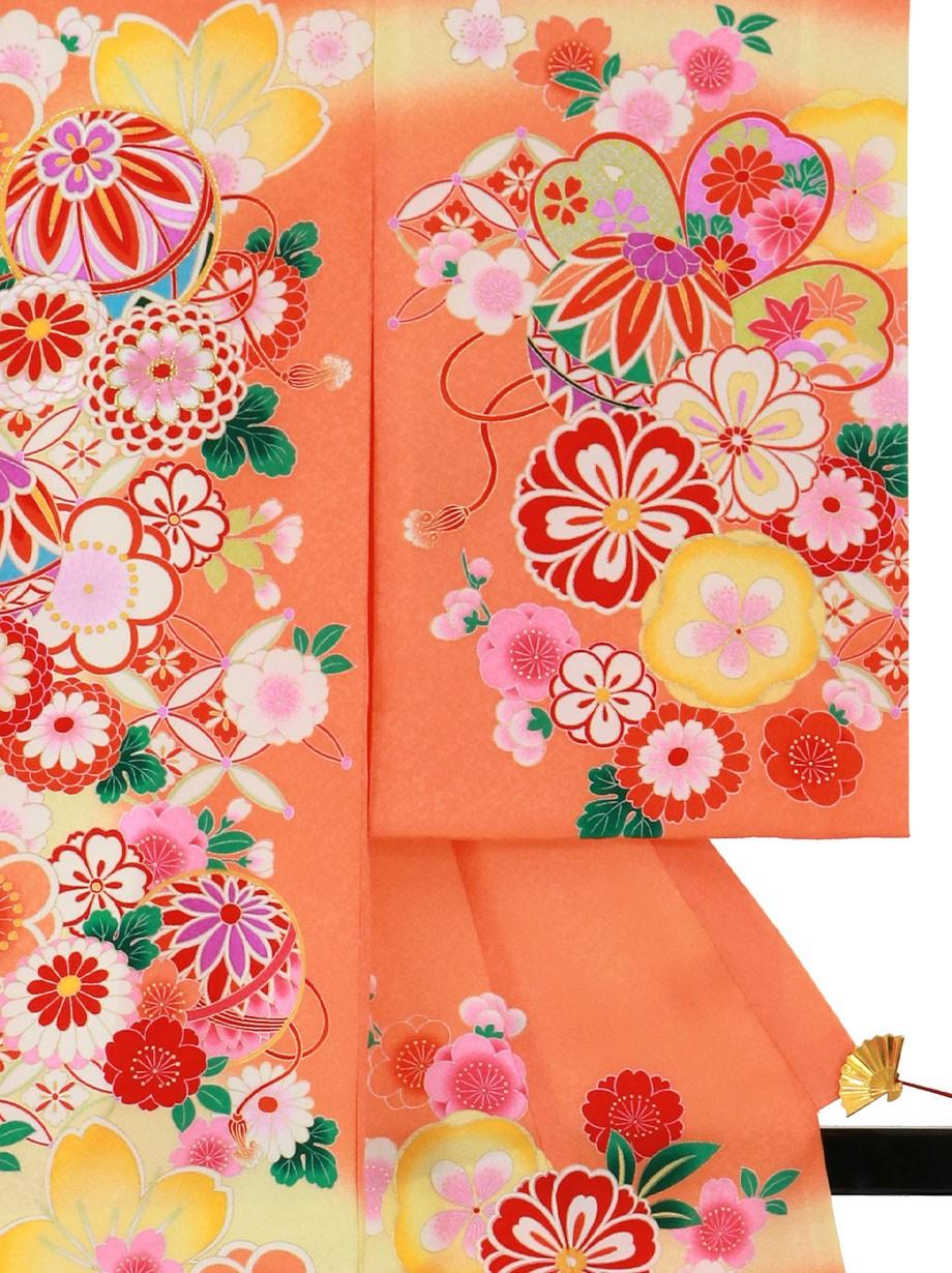 オレンジ地に鞠と菊、桜の祝い着(産着)/女児