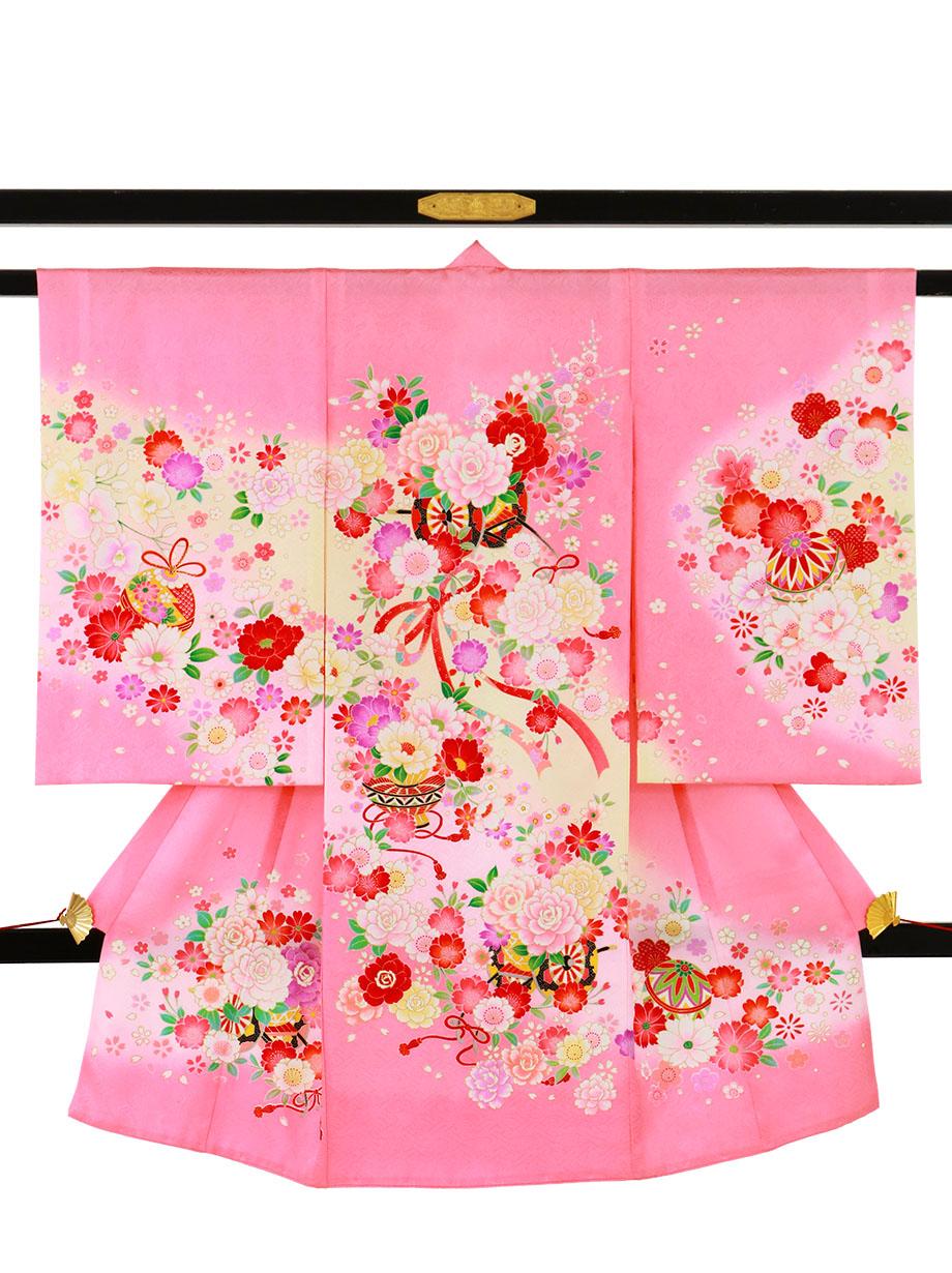 ピンク地に鹿の子柄の桜と花車の祝い着(産着)/女児