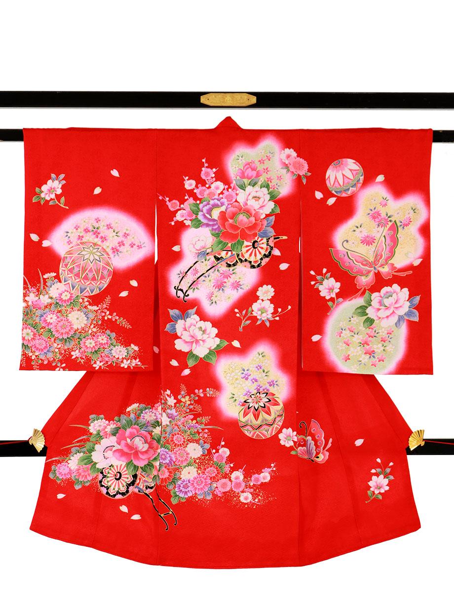 赤地に花車と蝶々の祝い着(産着)/女児