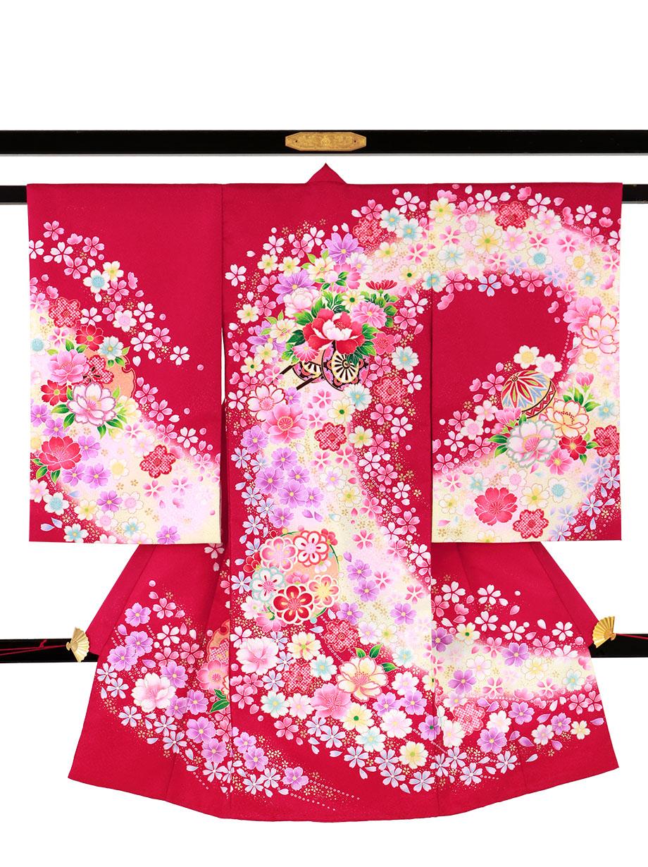 ルビー地に花車と鞠と雪輪の祝い着(産着)/女児(ポリエステル)