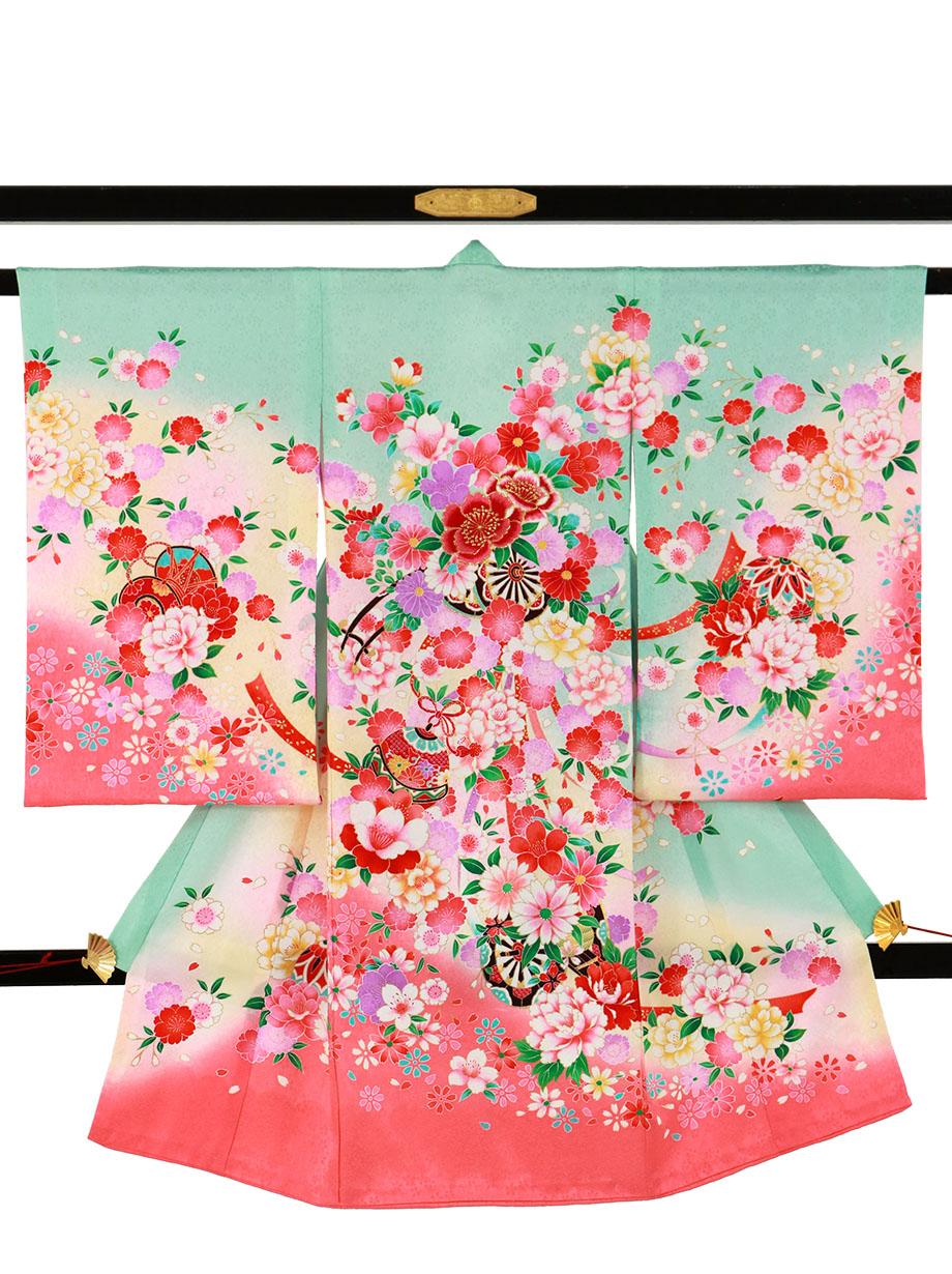 水色地に花車と鼓の祝い着(産着)/女児