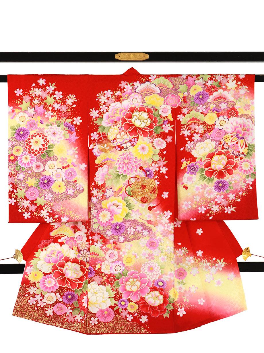 赤地に鈴と花尽くし、雲取りの祝い着(産着)/女児