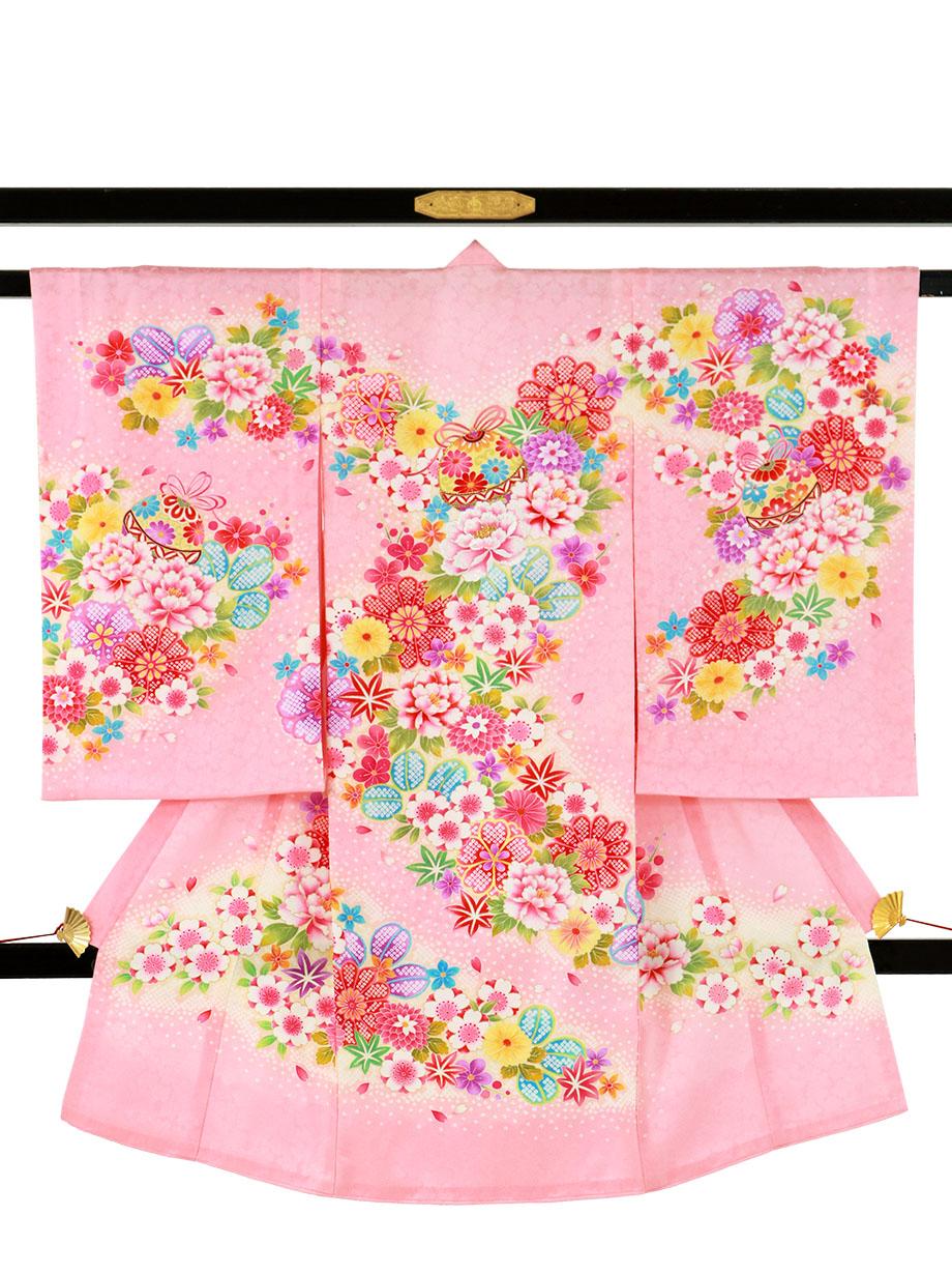 ピンク地に花尽くしの祝い着(産着)/女児
