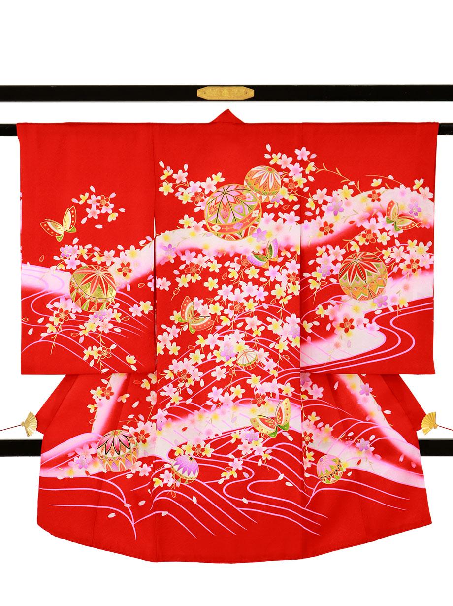 赤地に鞠と蝶、桜の花尽くしの祝い着(産着)/女児