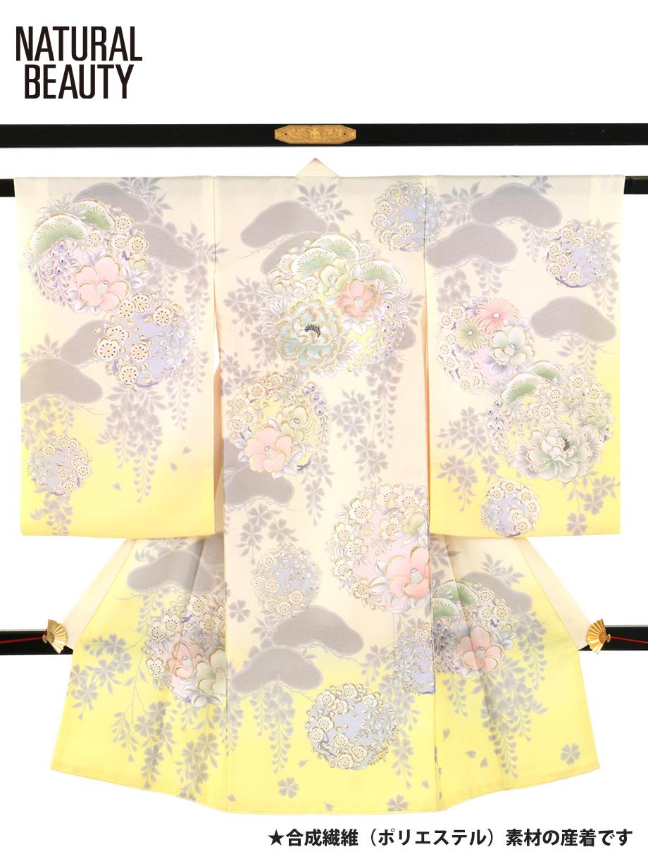 《NATURAL BEAUTY》ライトクリーム地に牡丹と椿、梅の祝い着/女児(ポリエステル)