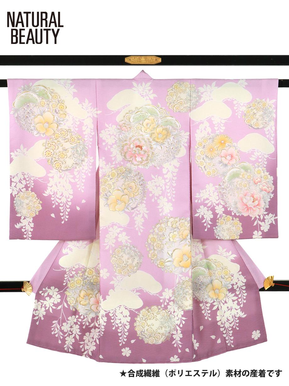 《NATURAL BEAUTY》パープルに牡丹と椿、梅の祝い着/女児(ポリエステル)