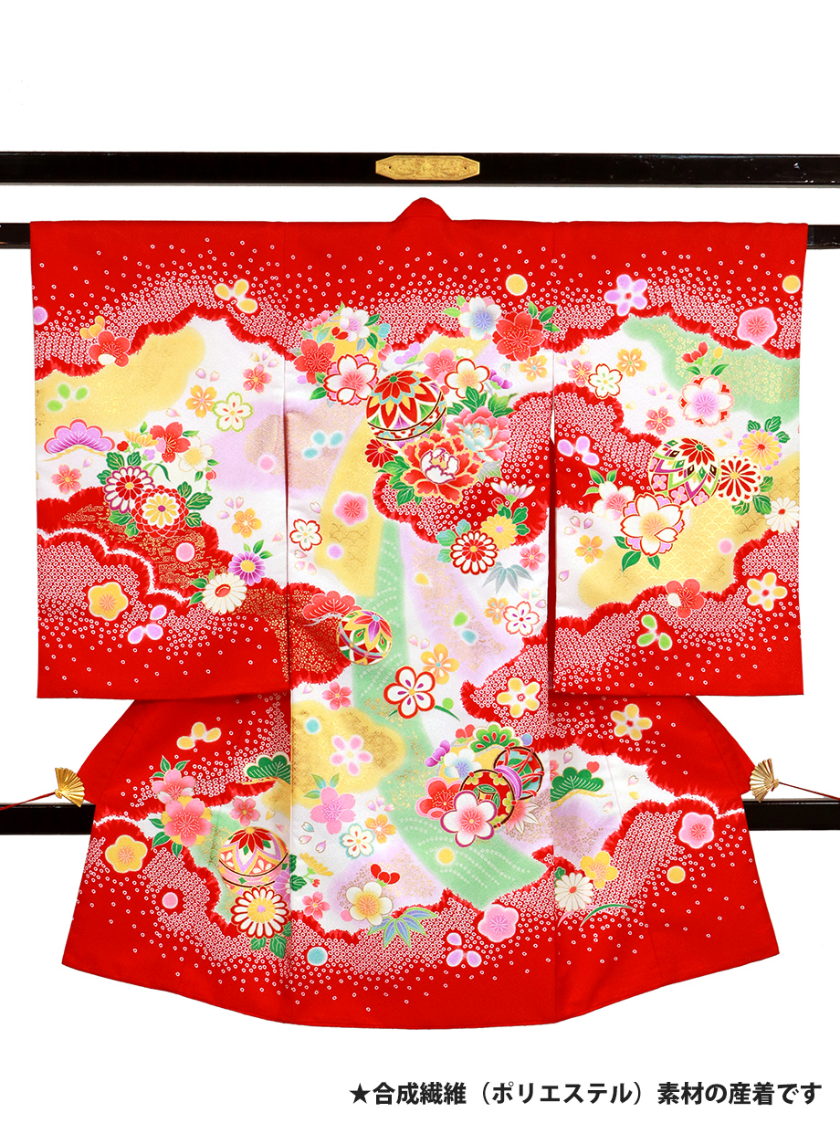 赤地に鞠や鼓の花丸文の祝い着(産着)