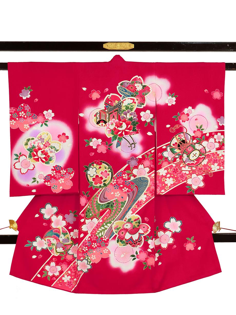 紅赤地に御所車と桜の祝い着(産着)/女児