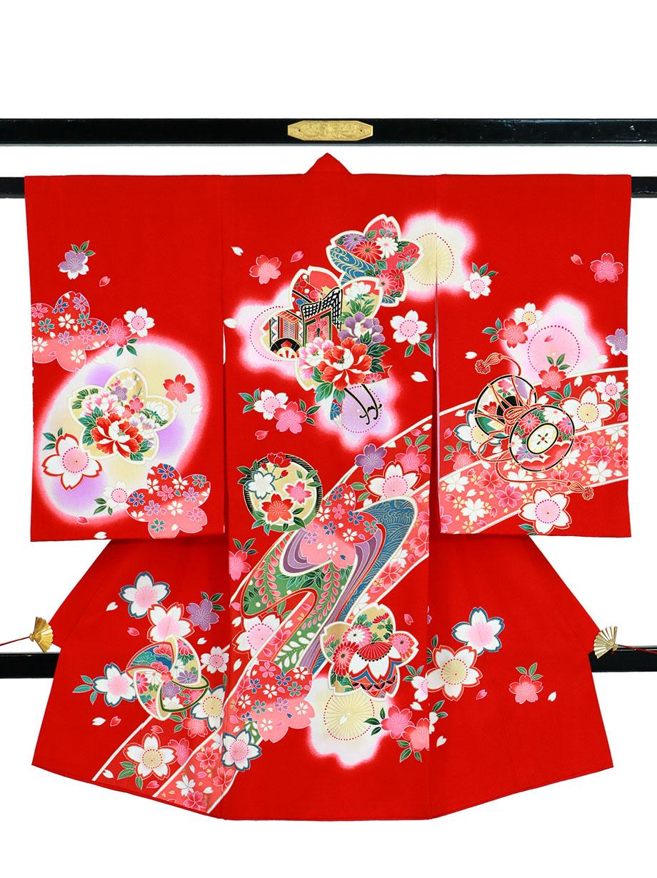 赤地に御所車と桜の祝い着(産着)/女児