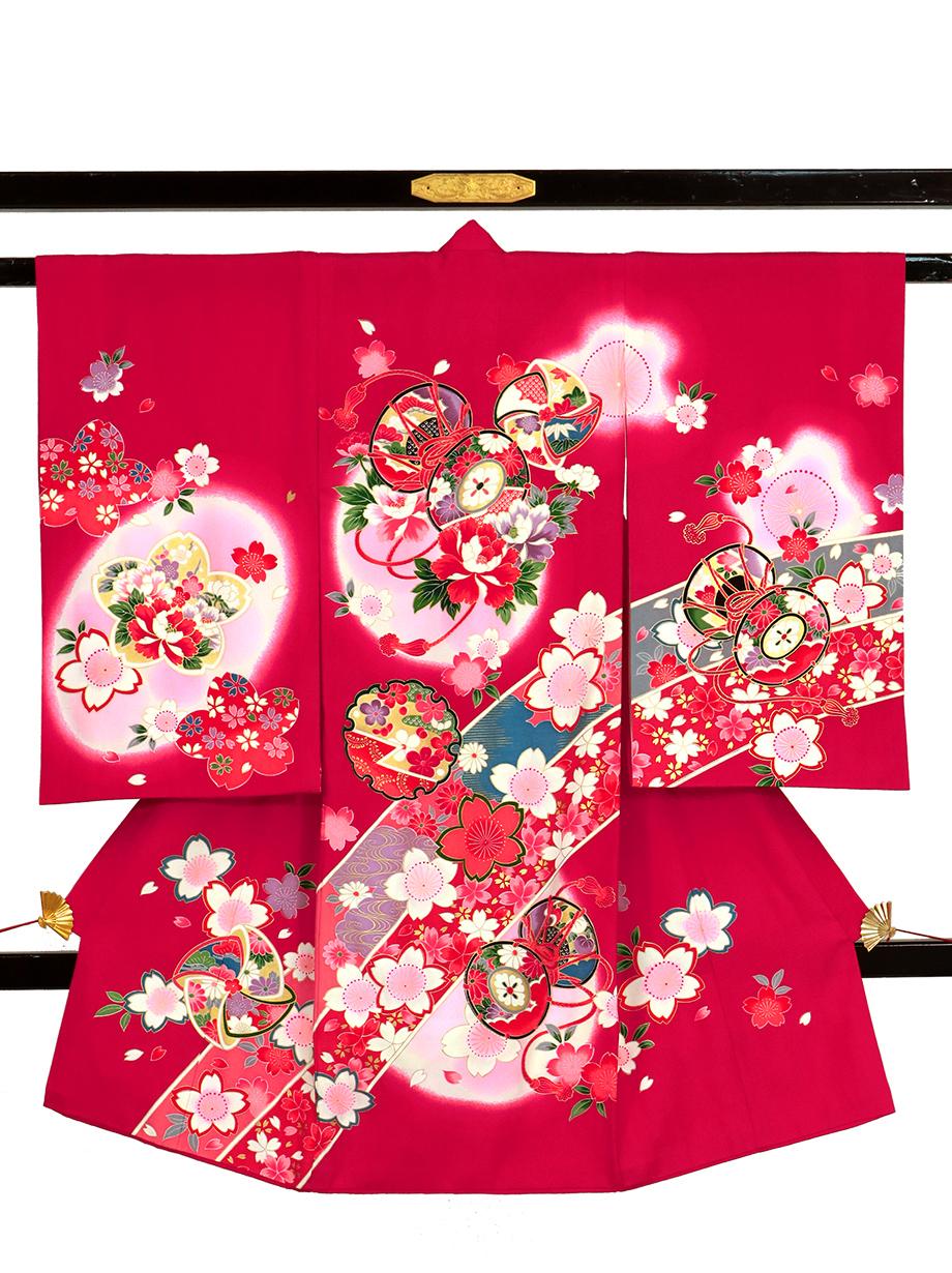 紅赤地に鼓と雪輪の祝い着(産着)/女児