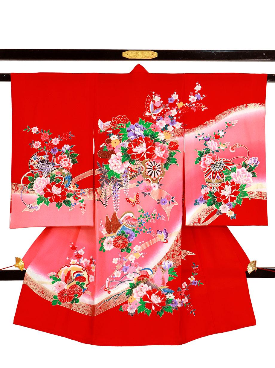赤地に花車とおしどりの祝い着(産着)/女児